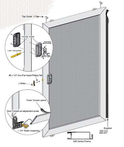 36 x94 unassembled economy sliding screen door best for Best sliding screen door