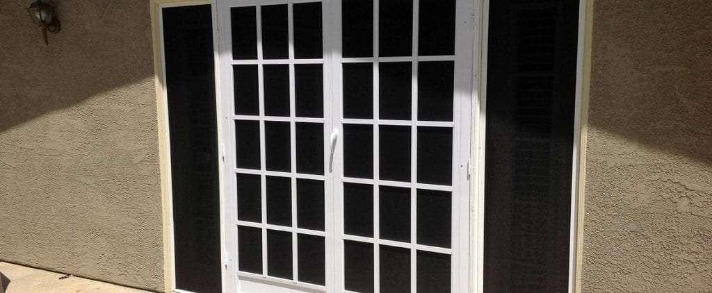 Custom screen doors and sun screens using suntex 80 black