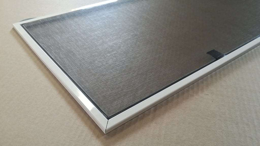 window screens frames white with springs and pull tabs