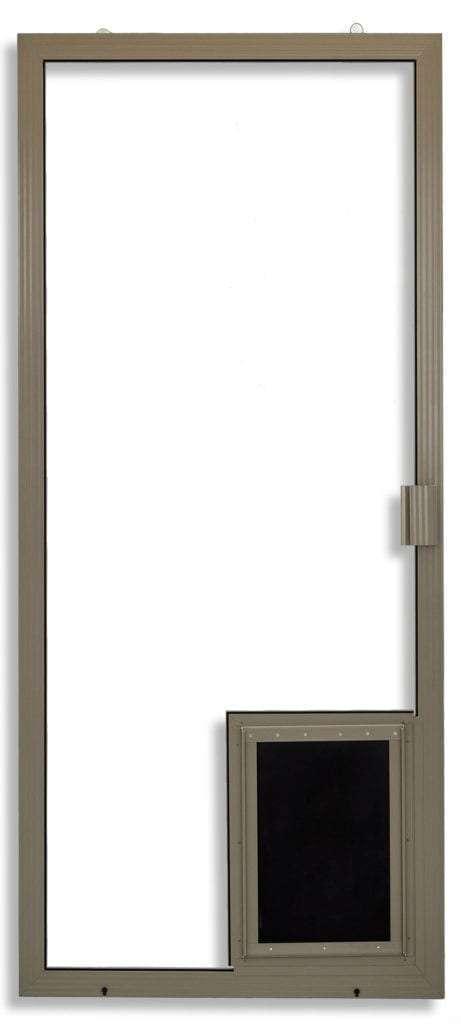 Super Duper Heavy Duty Sliding Screen Door in Adobe with pet door