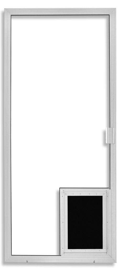 Super Duper Heavy Duty Sliding Screen Door in Clear Anodized with pet door