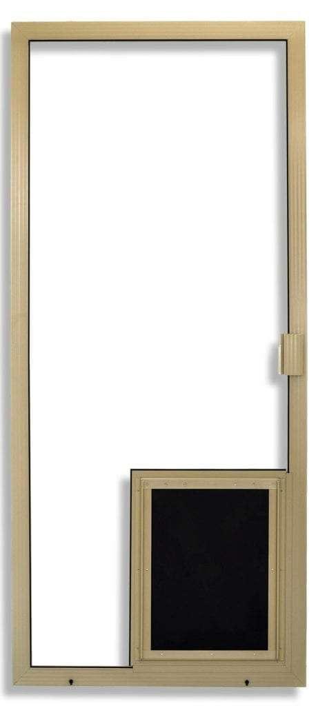 Super Duper Heavy Duty Sliding Screen Door in Tan with pet door