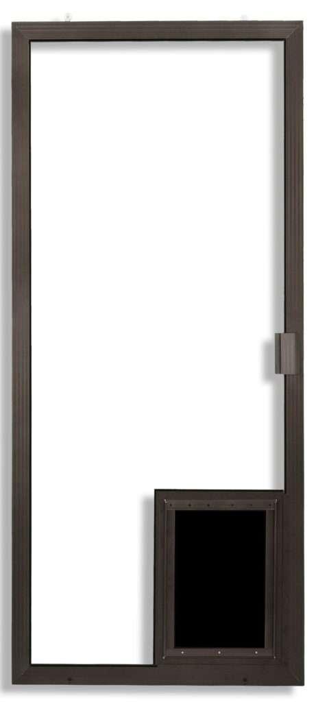 Super Duper Heavy Duty Sliding Screen Door in bronze with pet door