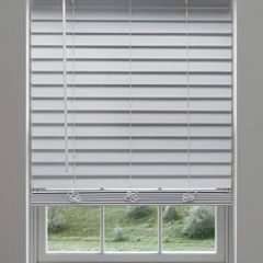 Cordless Faux Wood Blinds - White